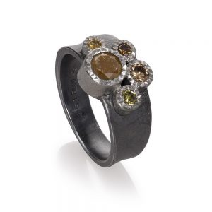 Todd Reed Palladium Multi-Stone Ring With Patina Sterling Silver