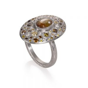 Todd Reed Palladium Multi-Stone Ring With Autumn ™ Diamonds