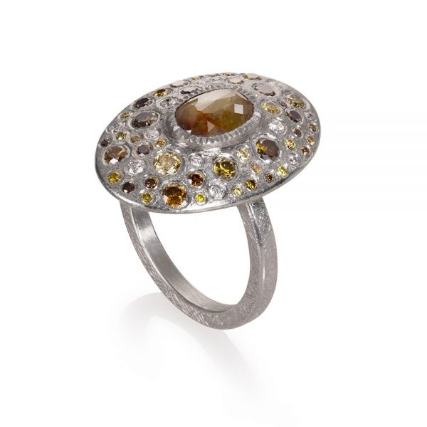 Todd Reed Palladium Multi-Stone Ring With Autumn ™ Diamonds