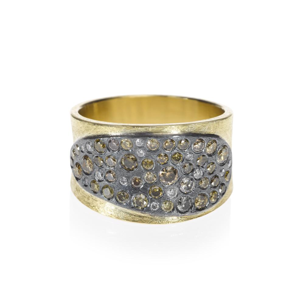 Todd Reed 18K ® Autumn Diamond Cluster Ring With Patina Sterling Silver
