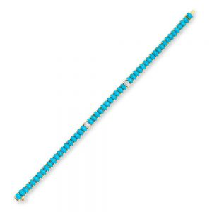 Diva Sleeping Beauty Turquoise Bracelet 18K Gold With Diamonds
