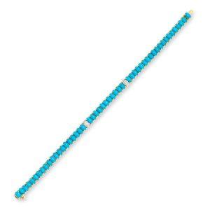 Diva Sleeping Beauty Turquoise Bracelet 18K Gold With Diamonds