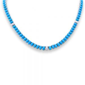 Sleeping Beauty Turquoise And Diamond Necklace 18K White Gold