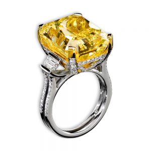 Diva Breath-Taking 20+ Carat Fancy Vivid Yellow Diamond Ring