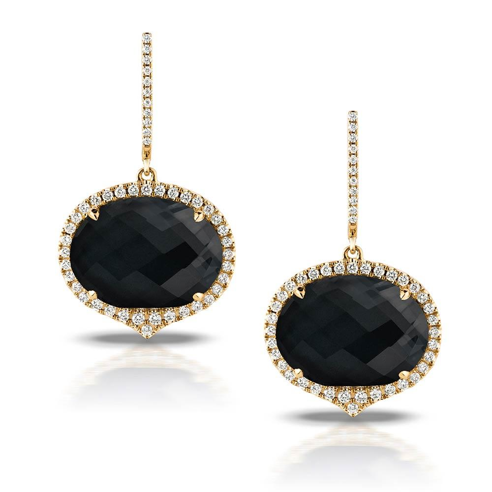 Doves Gatsby Faceted Black Onyx and Diamond Earrings