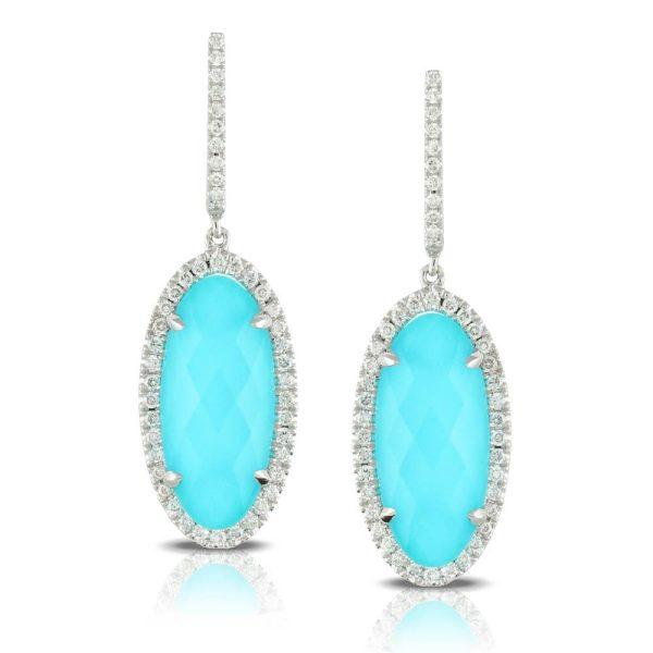Doves Saint Barths Blue Turquoise and White Topaz Earrings