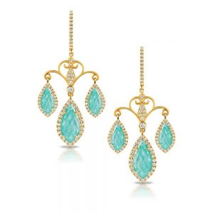 Doves Amazon Breeze 18KT Amazonite and Diamond Earrings