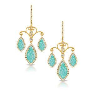 Doves Amazon Breeze 18KT Amazonite and Diamond Earrings