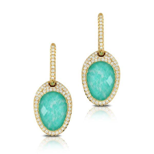 Doves Amazon Breeze Amazonite and Diamond Drop Earrings