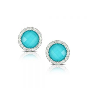 Doves Saint Barths Blue Arizona Turquoise Stud Earrings