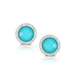 Doves Saint Barths Blue Arizona Turquoise Stud Earrings