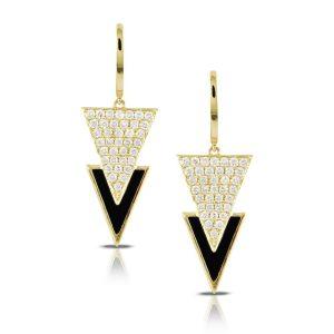 Doves Gatsby Black Onyx and Diamond Triangle Earrings