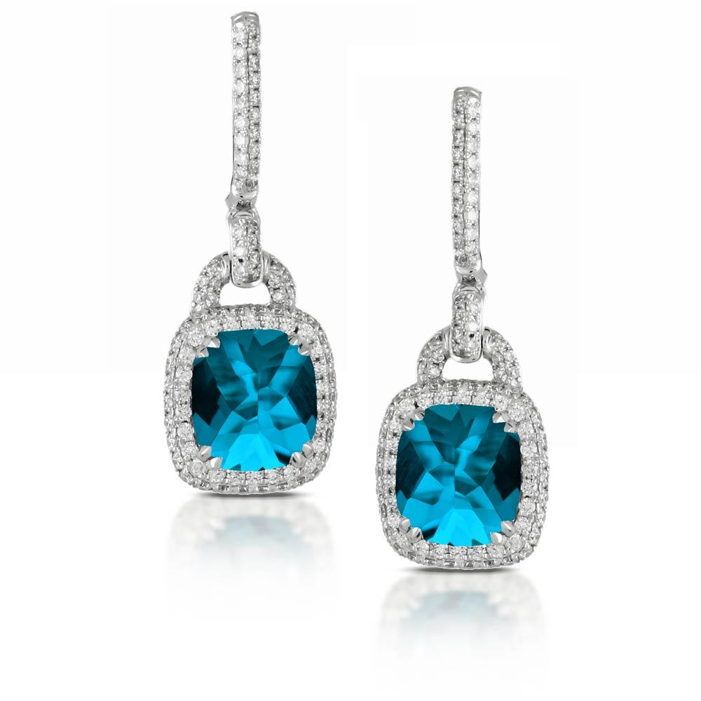 Doves London Blue Topaz Earrings With Diamonds