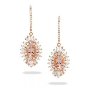 Doves Rosé Morganite and Diamond Rose Gold Earrings