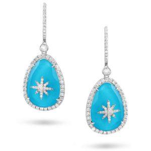 Doves Saint Barths Blue Turquoise Diamond Star Drop Earrings