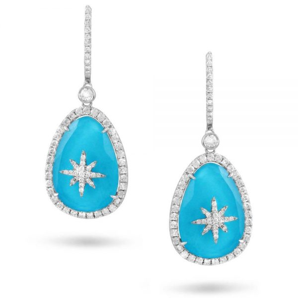 Doves Saint Barths Blue Turquoise Diamond Star Drop Earrings