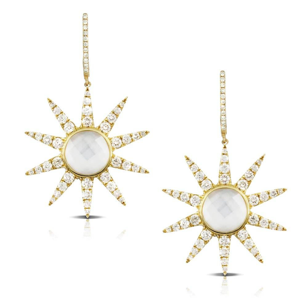 Doves White Orchid Mother of Pearl and Diamond Starburst Earrings