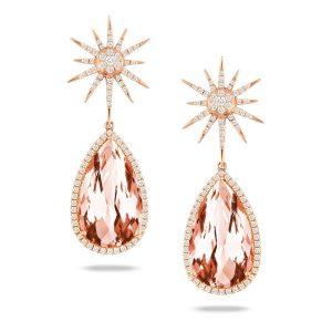Doves Rosé Tear Drop Morganite Diamond Starburst Earrings