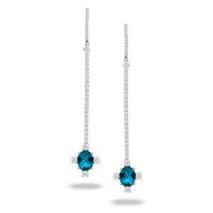 Doves London Blue Topaz Long Drop Earrings With Diamonds