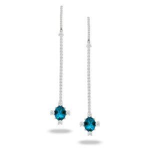 Doves London Blue Topaz Long Drop Earrings With Diamonds