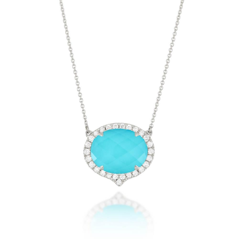 Doves Saint Barths Blue Turquoise Necklace With Diamonds