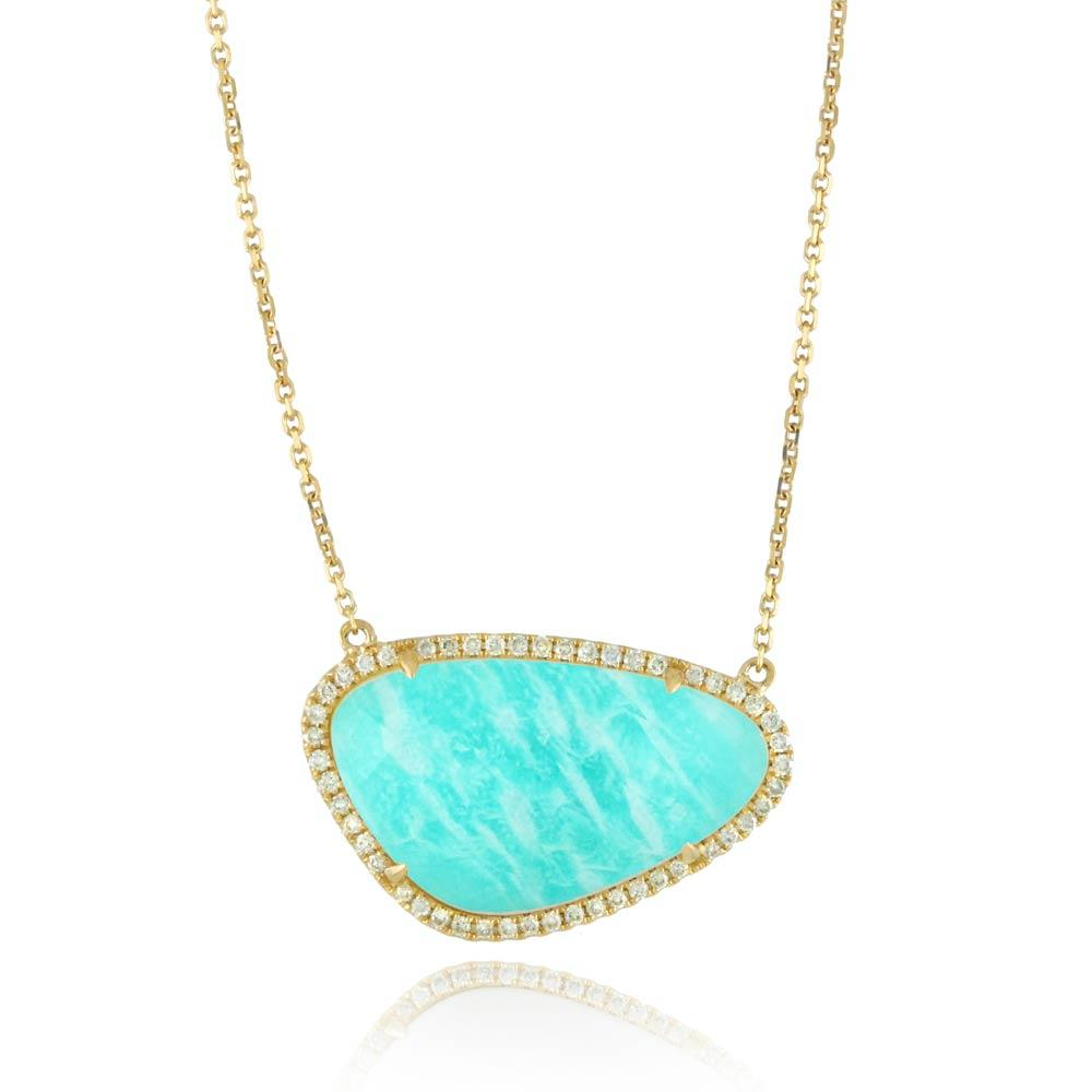 Doves Amazon Breeze Amazonite Organic Shape Necklace With Diamonds