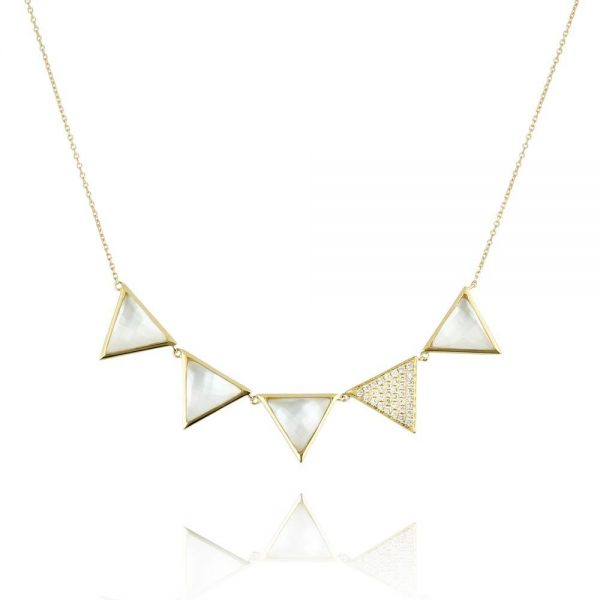 Doves White Orchid Mother of Pearl Triangles Necklace