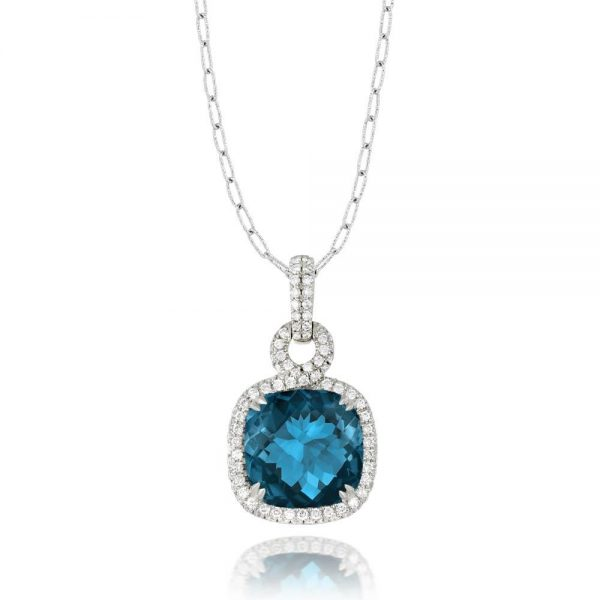 Doves London Blue Topaz Square Necklace With Diamonds
