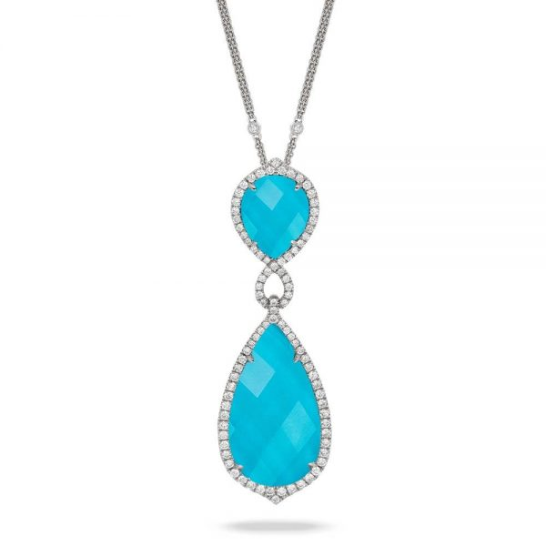 Doves Saint Barths Blue Turquoise Drop Pendant With Diamonds