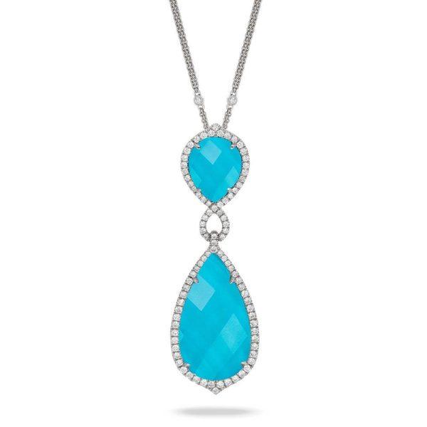 Doves Saint Barths Blue Turquoise Drop Pendant With Diamonds