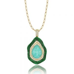 Doves Amazon Breeze Amazonite Necklace With Tsavorite and Diamonds