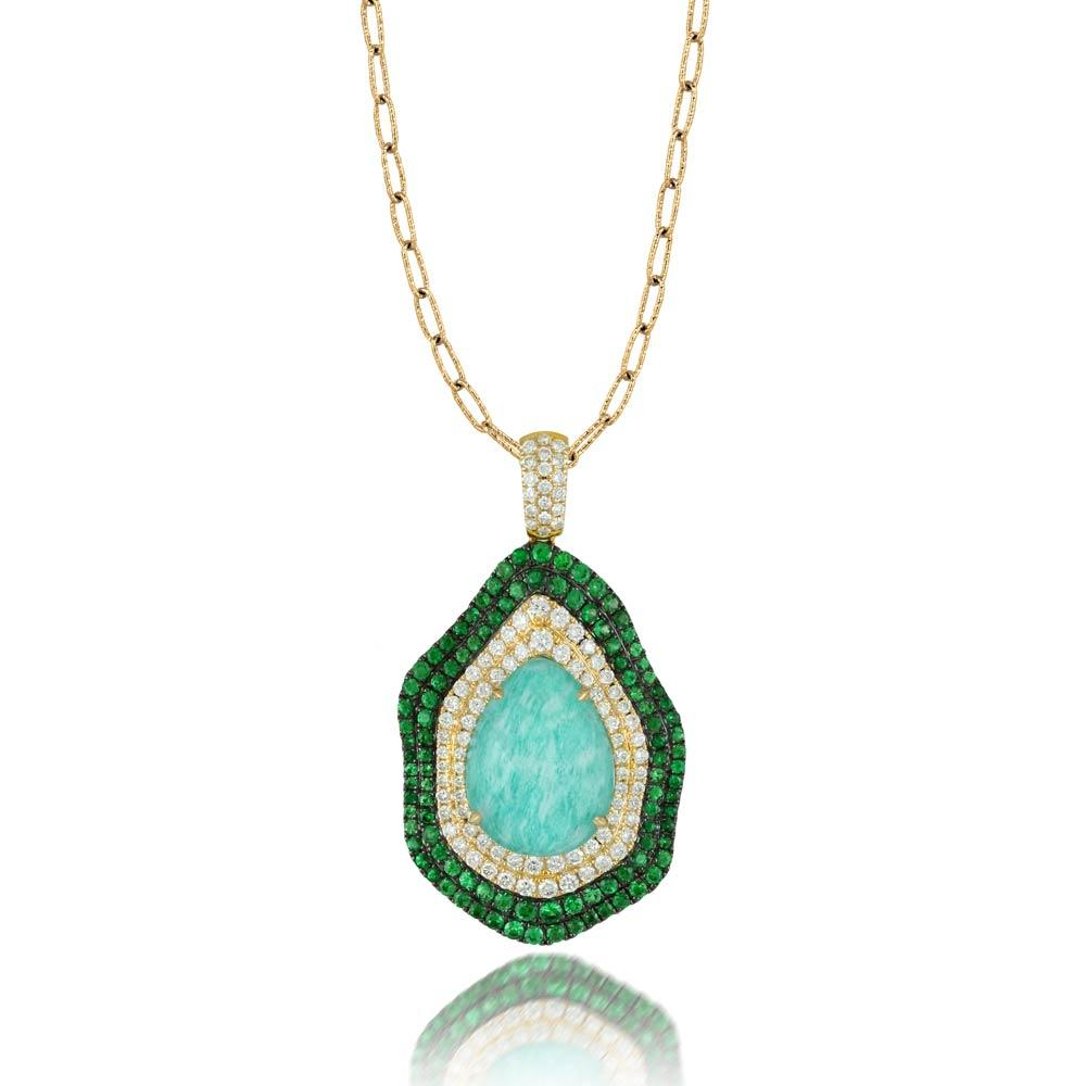 Doves Amazon Breeze Amazonite Necklace With Tsavorite and Diamonds