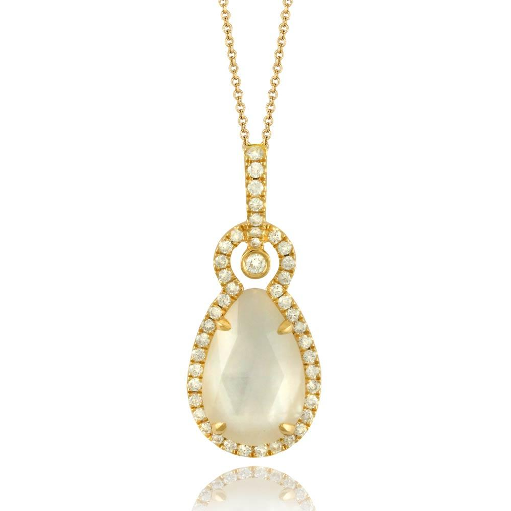 Doves White Orchid Mother of Pearl 18K Yellow Gold Drop Pendant