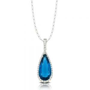 Doves London Blue Topaz Drop Pendant With Diamonds