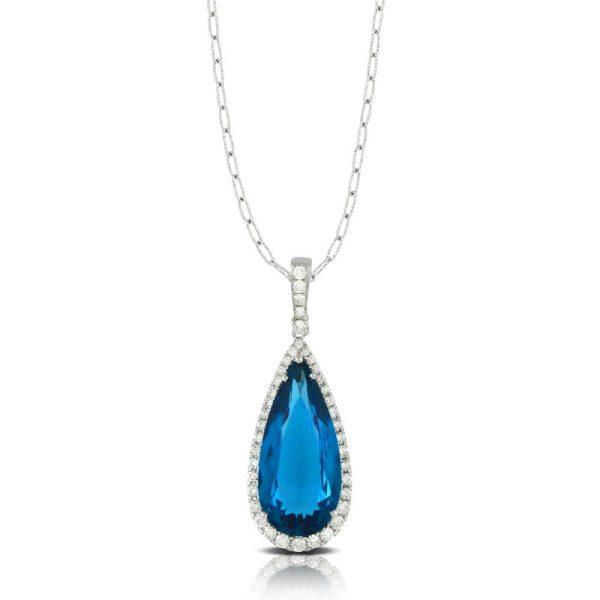 Doves London Blue Topaz Drop Pendant With Diamonds