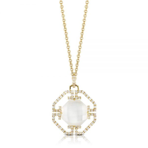 Doves White Orchid Mother of Pearl 18K Yellow Gold Art Deco Pendant