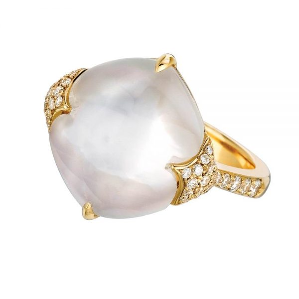Doves White Orchid Mother of Pearl 18K Yellow Gold and Diamond Ring