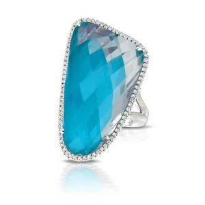 Doves Saint Barths Blue Arizona Turquoise and Topaz Ring With Diamonds