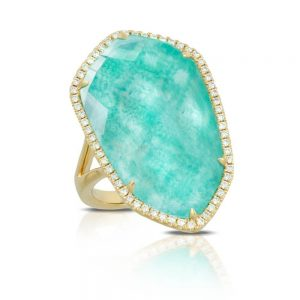 Doves Amazon Breeze Amazonite Shield Ring With Diamonds
