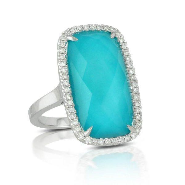 Doves Saint Barths Blue Turquoise Rectangular White Gold Ring