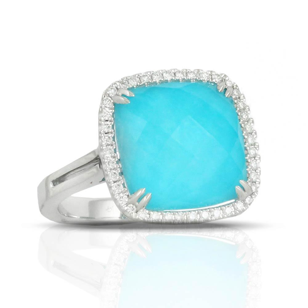 Doves Saint Barths Blue Turquoise Square Ring With Diamonds