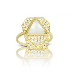 Doves White Orchid Mother of Pearl Geometric Yellow Gold Ring