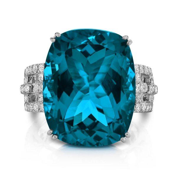 Doves London Blue 24 Carat Topaz White Gold Ring