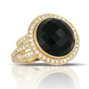 Doves Gatsby Faceted Black Onyx Yellow Gold Ring With Diamonds