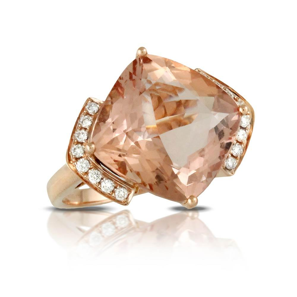 Doves Rosé Faceted Morganite Rose Gold Ring With Diamonds