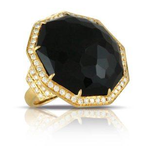 Doves Gatsby Black Onyx Geometric Ring With Diamonds