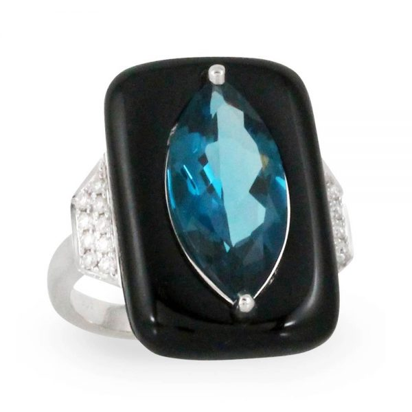 Doves London Blue Topaz and Black Onyx Ring With Diamonds