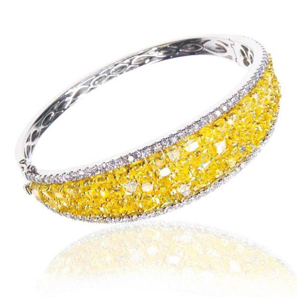 Diva Sparkling Yellow Diamond Bracelet 18K White Gold