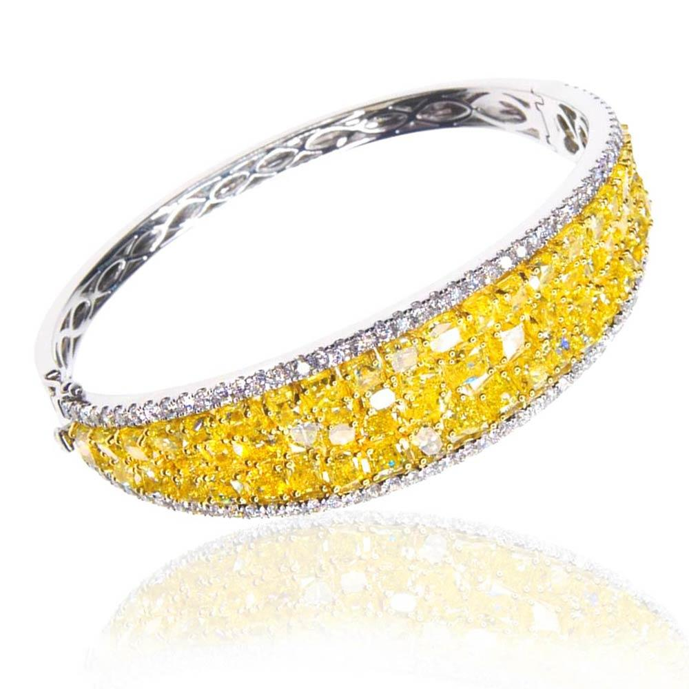 Diva Sparkling Yellow Diamond Bracelet 18K White Gold