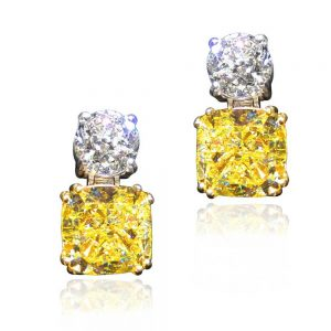 Diva Sparkling White and Yellow Diamond Earrings 18K